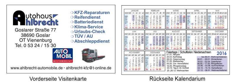 Kalendarium - Visitenkarte